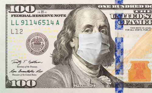 Money bill with a mask on